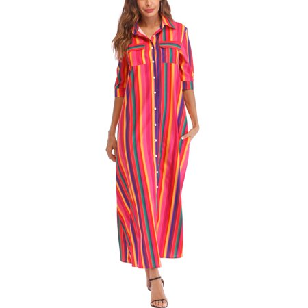 Casual Short Sleeve Dress for Women Beach Dress Stripe Color Patchwork Dress Long Maxi Dresses with Multi-Color (Rainbow Dresses For Kids)