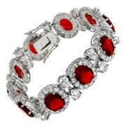 CZ BR612-R Kates Ruby & C.Z. Diamond Blink Bracelet Sterling Silver