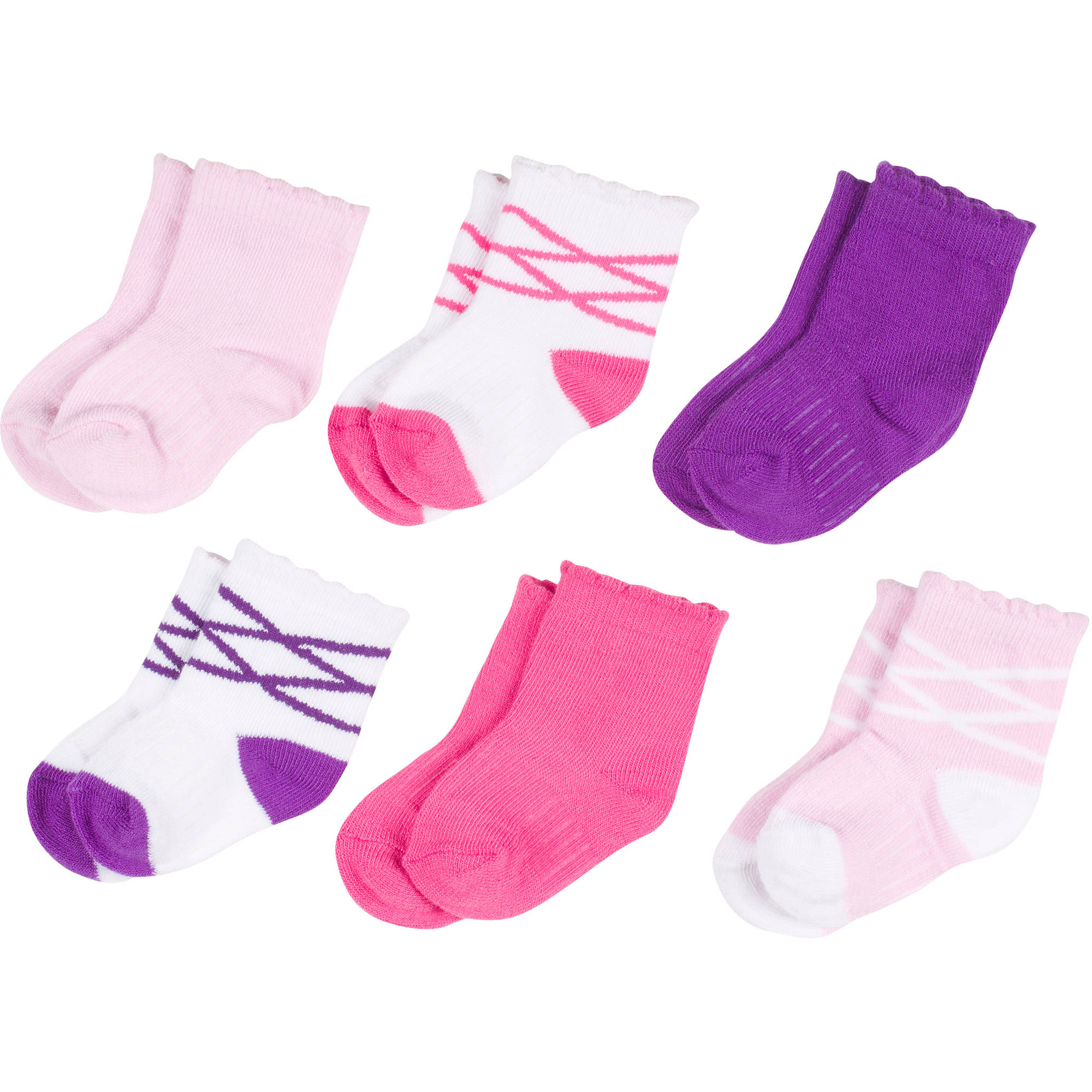 Growing Socks Newborn Baby 0-24 Months 6 Pair Ballerina Lace Up Assortment