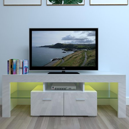 Ktaxon High Gloss TV Stand Unit Cabinet LED Light Shelves Living Room Entertainment Stand Cabinet White Bridge Unit Entertainment Centers