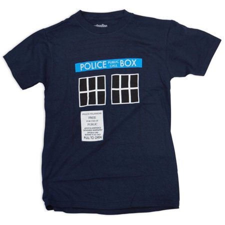 Doctor Who Tardis Call Box Mens Navy Blue T-Shirt   M