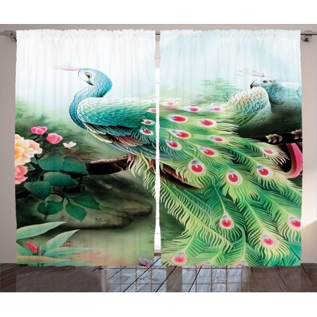 (Peacock Decor Curtains 2 Panels Set, Peacock In Summer Flower Garden Glass Vibrant Color Painting Effect Nature Art Print, Living Room Bedroom Accessories, Gift Ideas, By Ambesonne)