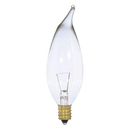Satco S3867 15W 12V CA10 Clear E12 Candelabra Base Incandescent bulb