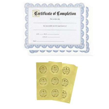 Certificate Paper – 48 Certificate of Completion Award Certificates with 48 Excellence Gold Foil Seal Stickers, for Student, Teacher, Professor, Blue, 8.5 x 11 (Best Student Award Certificate)