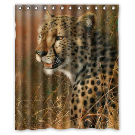 GreenDecor Fierce Animal Cool Leopard Waterproof Shower Curtain Set with Hooks Bathroom Accessories Size 60x72 inches ()