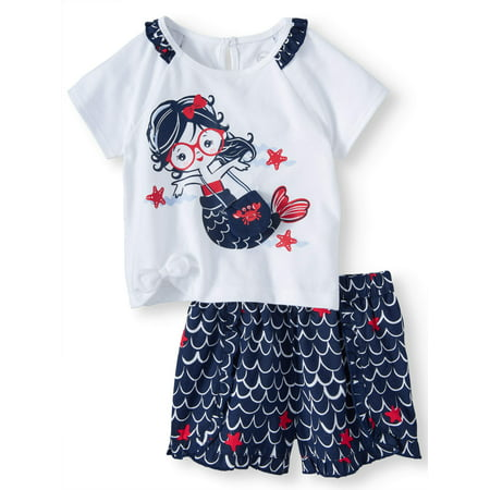 Baby Girls' 3D Graphic Mermaid T-Shirt and Ruffle Shorts, 2-Piece Outfit Set (Mermaid Infant)