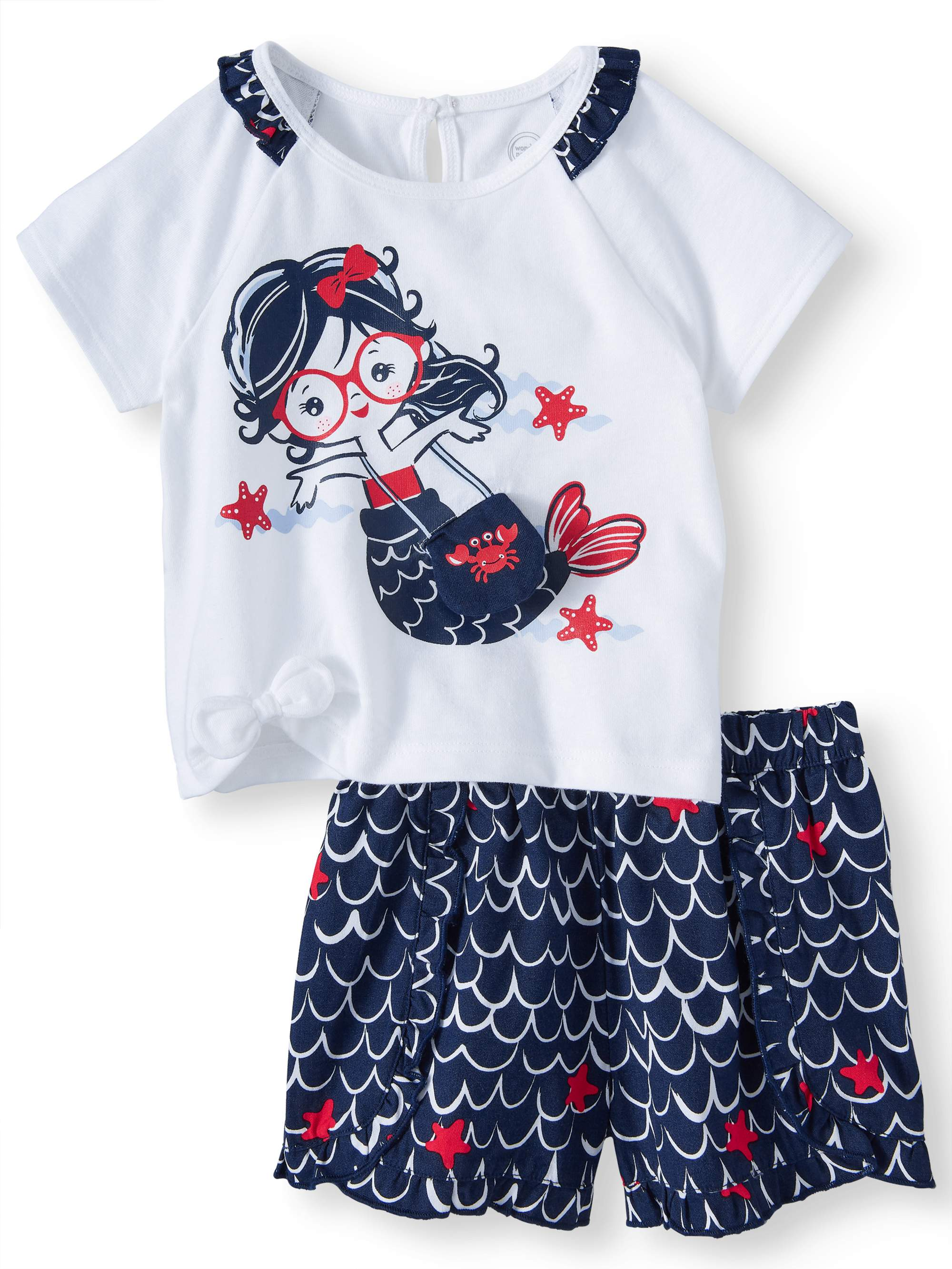 Baby Girls' 3D Graphic Mermaid T-Shirt and Ruffle Shorts, 2-Piece Outfit Set