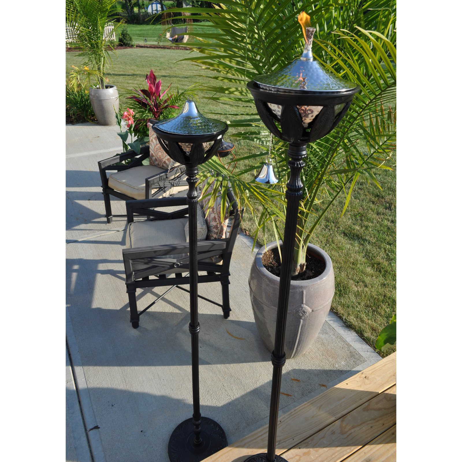 """Starlite 61""""H Black Bali Outdoor Torch with Stainless Steel Torch Head"""