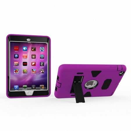 iPad Mini 3 2 1 7.9-inch Tablet Case, Allytech Absorption Three Layer Armor Defender Shockproof Cover Hybrid Full Body Protective Case for iPad Mini, Mini 2, Mini 3, Mini Retina, Purple/ Black ()