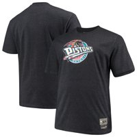Detroit Pistons Mitchell & Ness Big & Tall Hardwood Classics Throwback Logo T-Shirt - Heathered Black