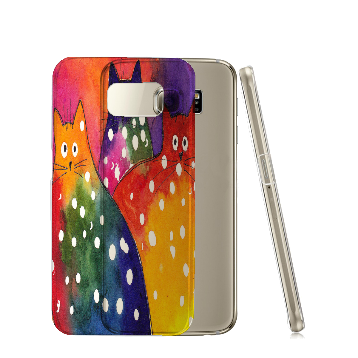 KuzmarK™ Samsung Galaxy S6 Edge Clear Cover Case - Two-Toned Polka-Dot Chunky Kitties Abstract Cat Art by Denise Every
