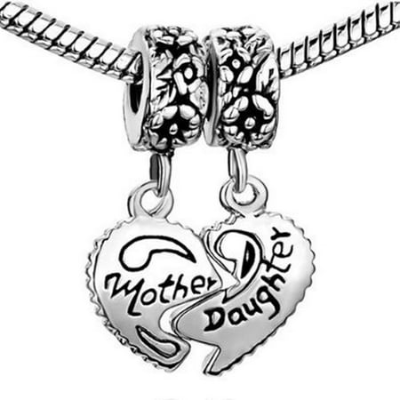 Mother Daughter Dangle Charm Bead Compatible With Most Pandora Style Charm Bracelets
