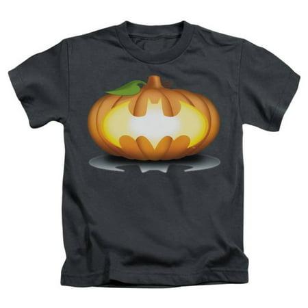 Juvenile: Batman - Bat Pumpkin Logo Apparel Kids T-Shirt - Grey (Kids Apparel Online Shopping)