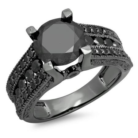 Dazzlingrock Collection 3.95 Carat (ctw) Black Rhodium Plated 10K Black Diamond Ladies Engagement Ring, White Gold, Size 7.5