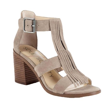 7cf8ee63a8a Sole Society - Sole Society Women s Delilah Suede Fringe Block Heel Sandals  - Walmart.com