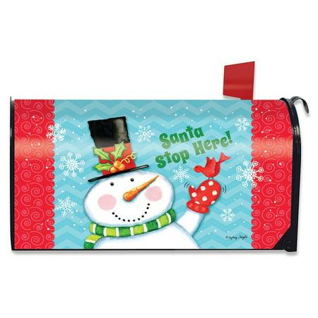 Christmas Mailbox Decoration (Santa Stop Here Christmas Mailbox Cover Primitive Snowman Cardinal)