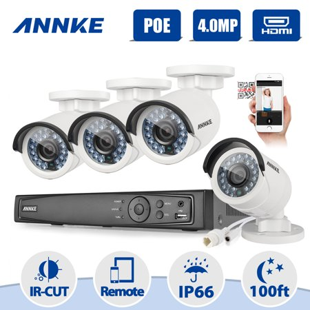 ANNKE 8CH 4 0MP POE Security Camera System with 4x 4 0MP Day