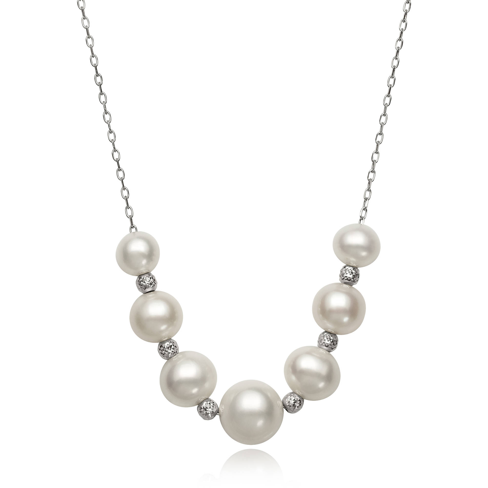Graduated Cultured Freshwater Pearl and Faceted Bead Sterling Silver Chain Necklace, 18