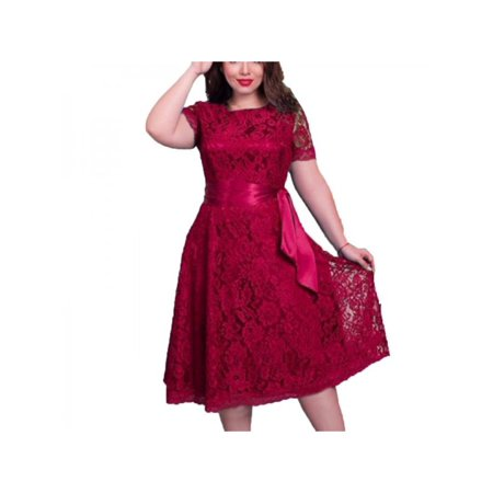 VICOODA Plus Size Dress Short Dress Women Lace Floral Dress Cocktail Formal Swing Dress