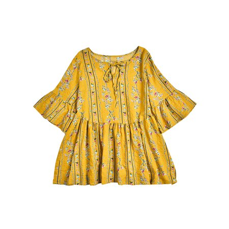 EZCottonLinen Womens Floral Cotton Linen Tunic Tops Ladies Bell Sleeve Casual Swing T Shirts