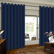 PrimeBeau Extra Wide Sliding Door Curtains Room Divider Grommet Top Curtain Panel, Blackout Patio Door Curtain, Navy, 8.3ft Wide x 8ft Tall (100inch W x 96inch L), Sold by Panel