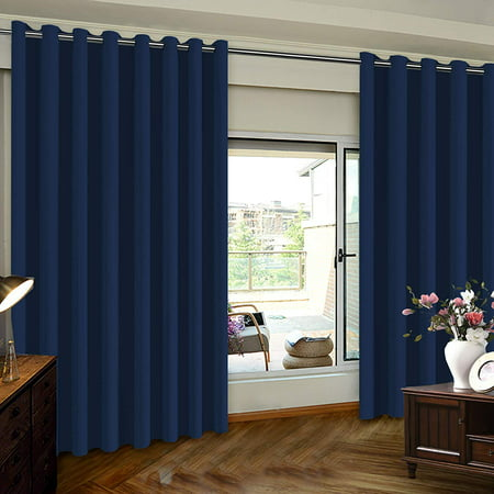 PrimeBeau Extra Wide Sliding Door Curtains Room Divider Grommet Top Curtain Panel, Blackout Patio Door Curtain, Navy, 8.3ft Wide x 8ft Tall (100inch W x 96inch L), Sold by Panel ()