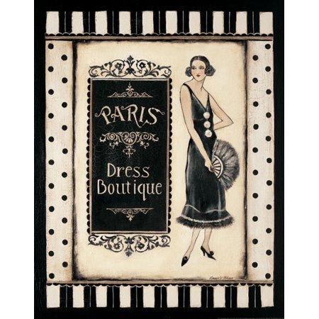 Paris Dress Boutique - Mini Popular Woman Durable Sign Dress Retro Boutique Painting 11X14
