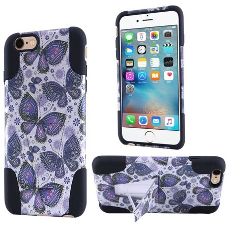 ff793815775f9f Insten Butterfly Flower Hard Dual Layer Plastic Silicone Case w stand For Apple  iPhone 6