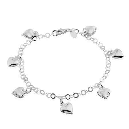 - 925 Sterling Silver Diamond Cut Charms Ankle Bracelet for Women Jewelry Gift