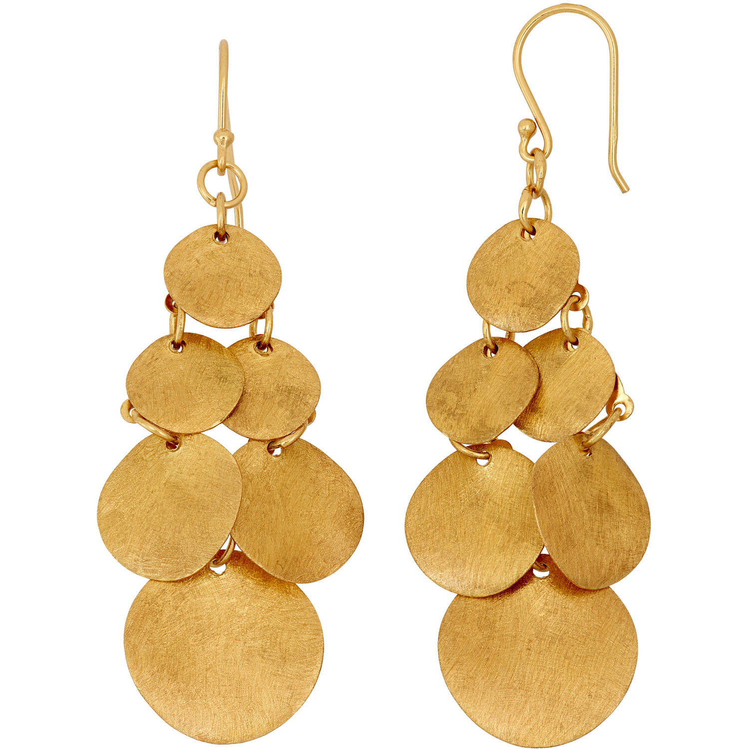 Image of 5th & Main 14kt Gold-Plated Circle Drop Gypsy Earrings with Satin Finish