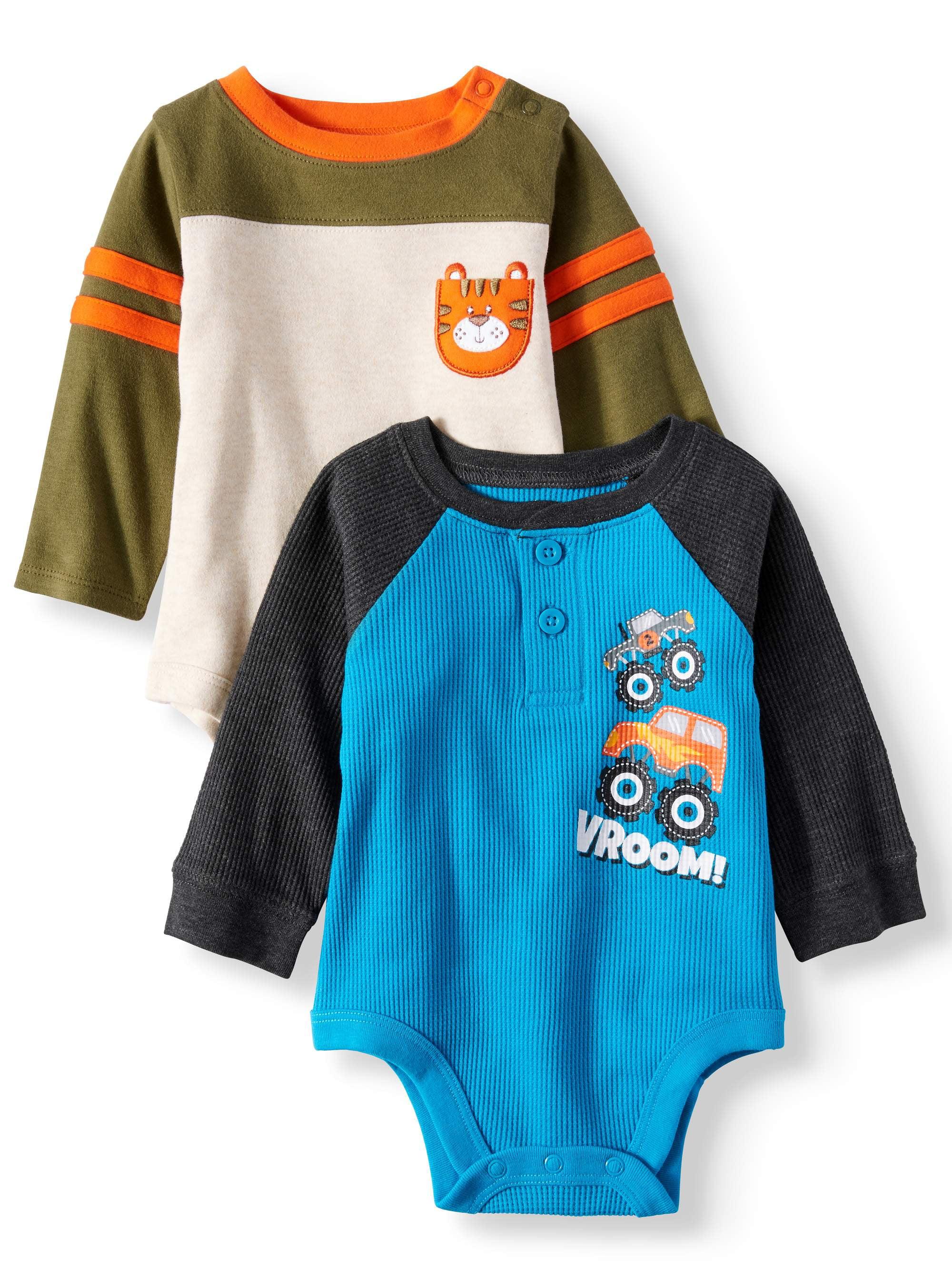 Garanimals Long Sleeve Bodysuits, 2-pack (Baby Boys)