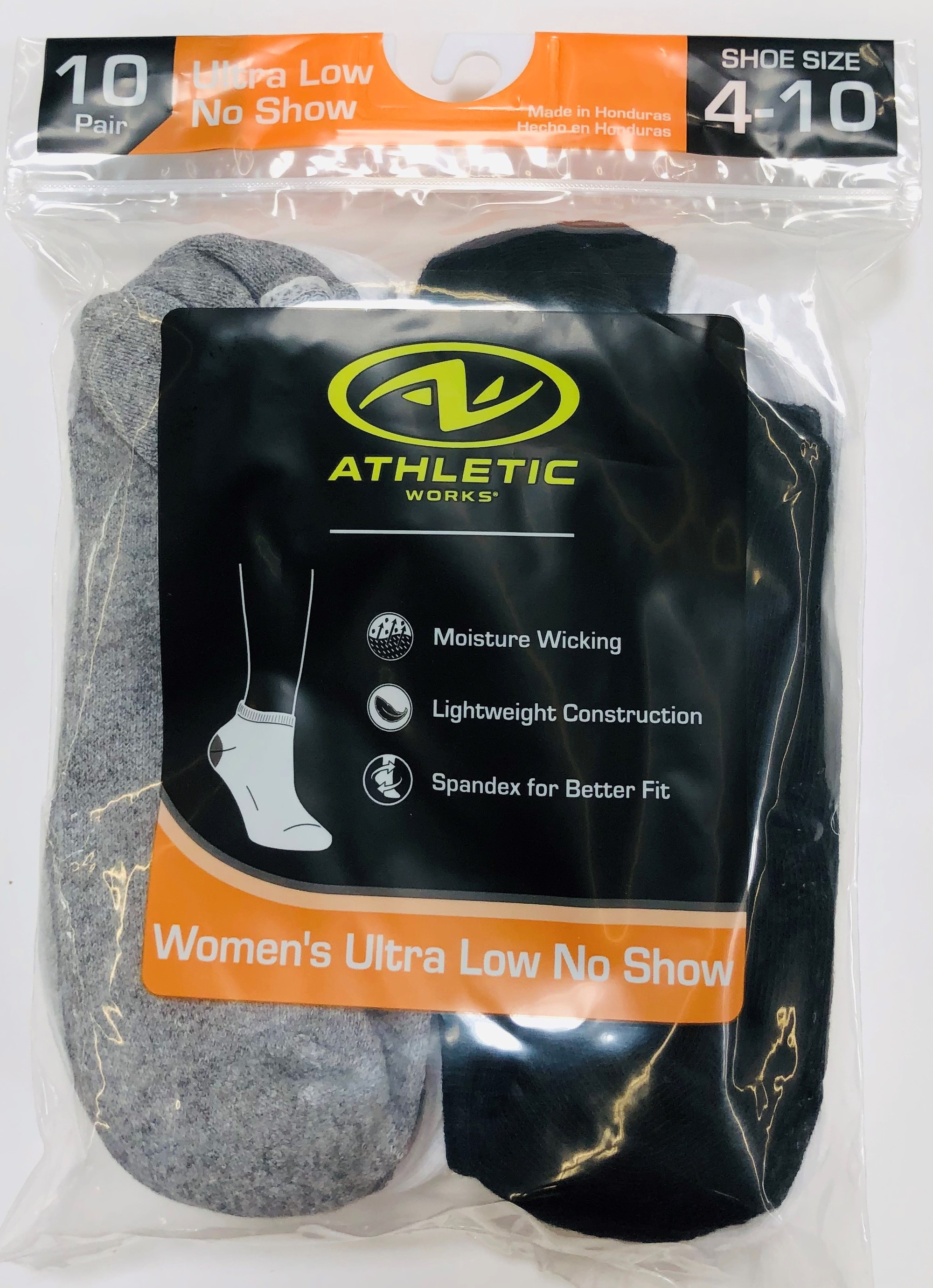 Athletic Works Women's Ultra Low No Show Socks, 10 Pairs