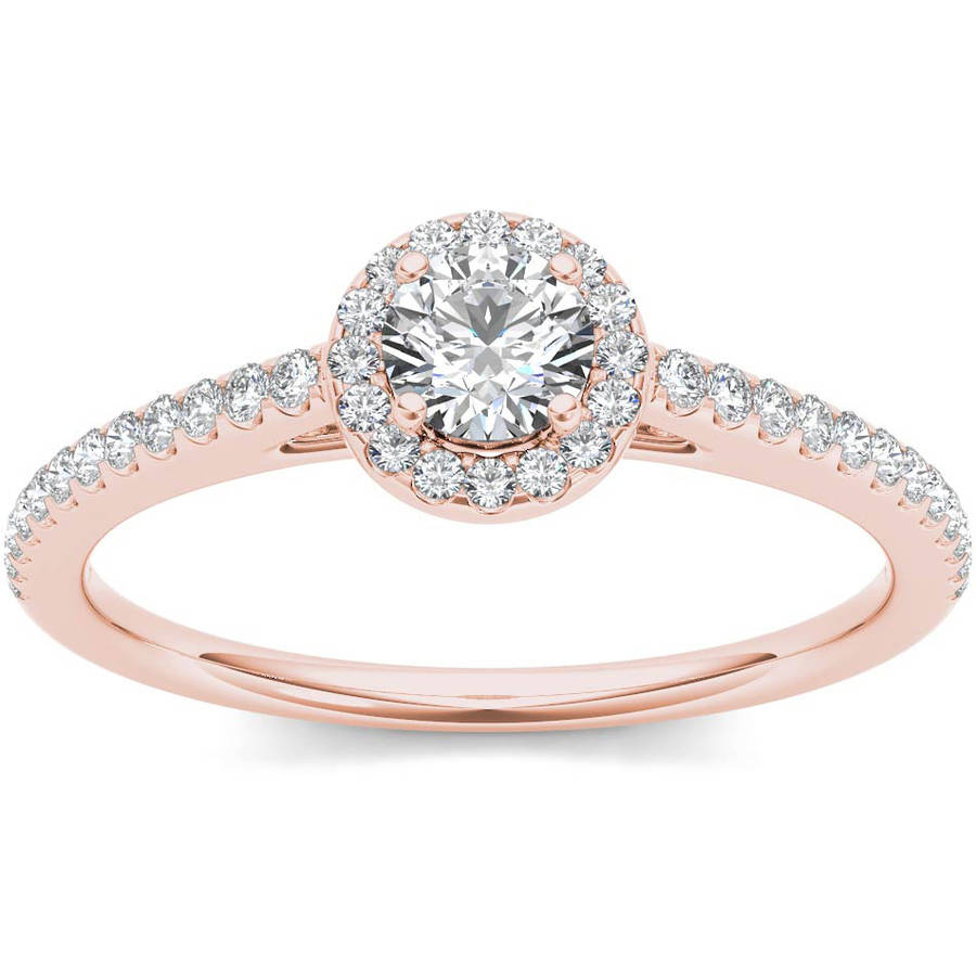 Imperial 1 2 Carat T.W. Diamond Single Halo 14kt Rose Gold Engagement Ring by Imperial Jewels