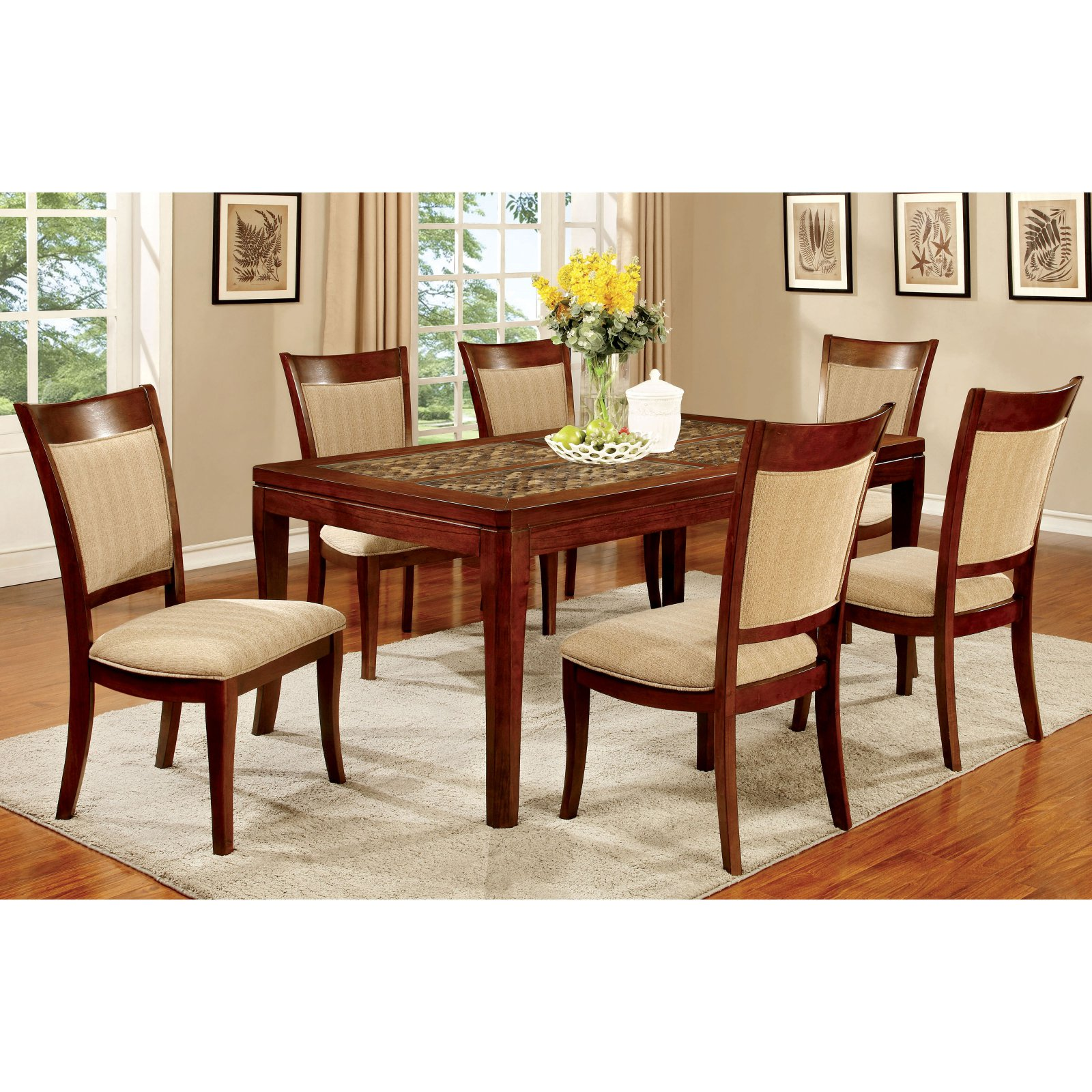 Furniture of America Creekmore 66 in. Dining Table with Woven Table Top Design