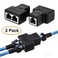 2pcs RJ45 1 to 2 Socket Female LAN Ethernet Cable Connector Splitter Extender Adapter