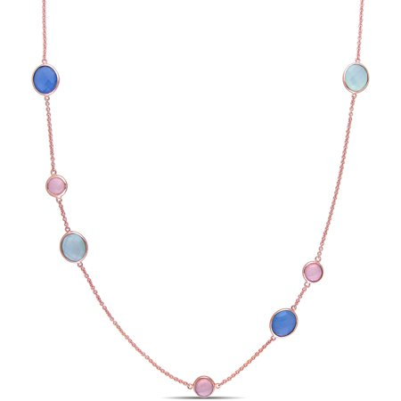 Tangelo 16-1/2 Carat T.G.W. Blue and Green with Pink Chalcedony Rose Rhodium-Plated Sterling Silver Multi-Stone Link Necklace, 32