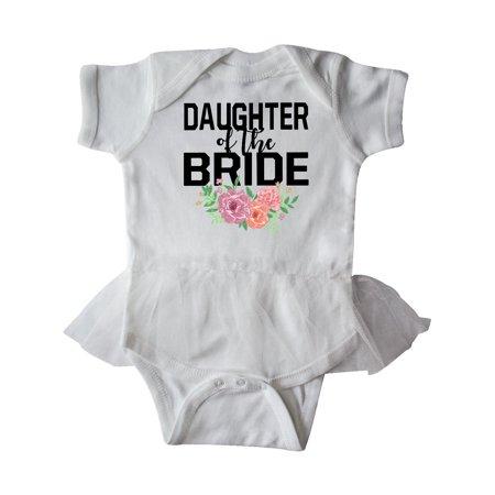 Daughter of The Bride with Flower Illustration Infant Tutu Bodysuit (Bride Onesie)