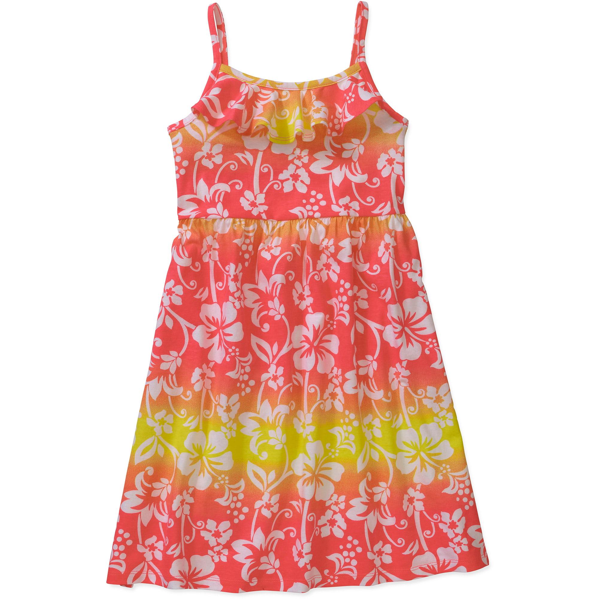 Faded Glory Girl Neck Ruffle Dress