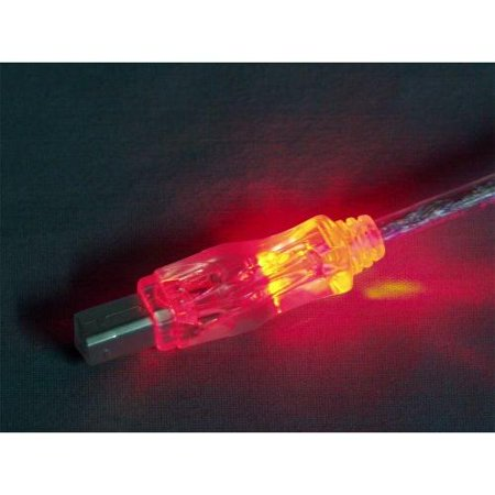 Qvs Usb 2.0 480mbps Type A Male To B Male Translucent Cable With Leds - Usb For Printer, Scanner, Storage Drive - 10 Ft - 1 X Type A Male Usb - 1 X Type B Male Usb - Red, Translucent (cc2209c-10rdl)