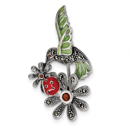 Mia Diamonds Solid 925 Sterling Silver Antiqued Epoxy and Marcasite and Red Glass Ladybug Flower Pin