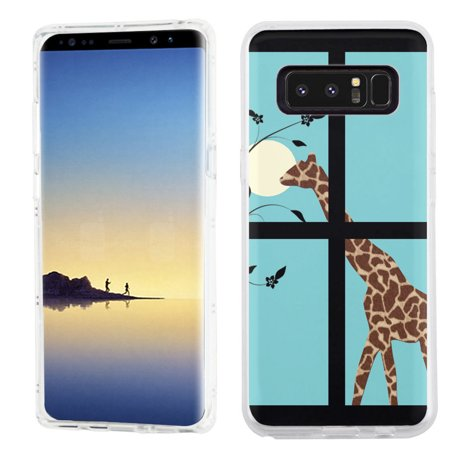 Giraffe Folded Note - Slim-Fit case for Samsung Galaxy Note 8, OneToughShield ® TPU Gel Protector Phone Case - Moon Giraffe