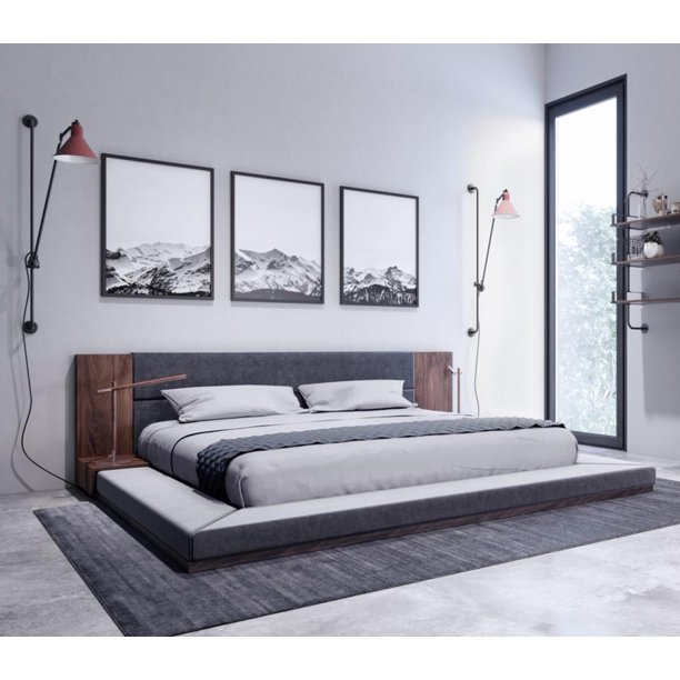 Jagger Japanese King Bed Built In Nightstands Dark Grey Walnut Nova Domus Vig Walmart Com Walmart Com