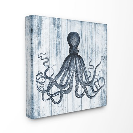 Blue Stretched Canvas Wall Art (The Stupell Home Decor Collection Blue Distressed Octopus Ocean Animal Illustration Oversized Stretched Canvas Wall Art, 24 x 1.5 x)