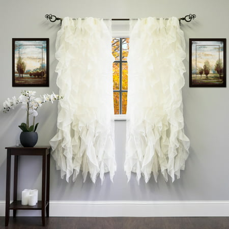 Vertical Air Curtain (Chic Sheer Voile Vertical Ruffled Tier Window Curtain Single Panel 50