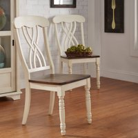 Weston Home Two Tone Side Chair, Set of 2, Antique White & Warm Cherry