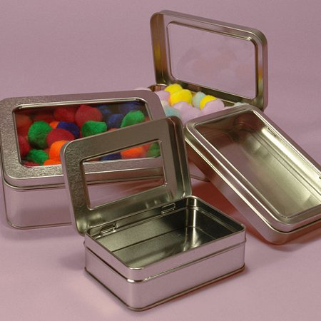 2 Rectangular Metal Tin Box - Plain Silver Hinged Blank Storage Case, Survival Kit Tins (Plain Box Rail)