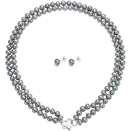 """ADDURN Double Row 6-7mm Grey Freshwater Pearl Heart-Shape Sterling Silver Clasp Necklace (18"""") with Bonus Pearl Stud Earrings"""