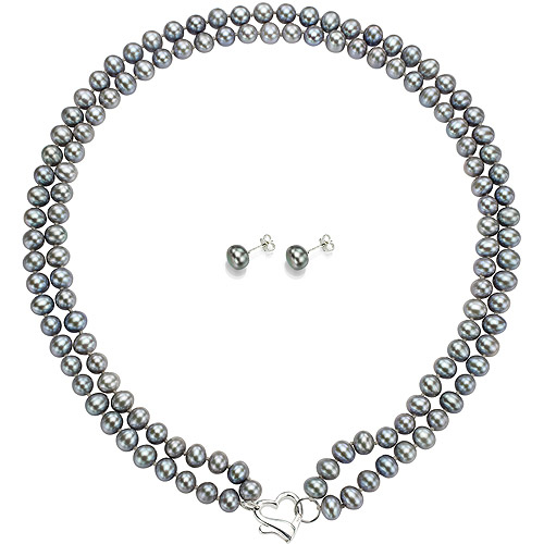 "Double Row 6-7mm Grey Freshwater Pearl Heart-Shape Sterling Silver Clasp Necklace (18"") with Bonus Pearl Stud Earrings"