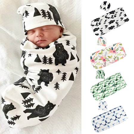 Newborn Baby Blanket Cocoon Swaddle Sleeping Bag Newborn Photography Prop with Hat cactus