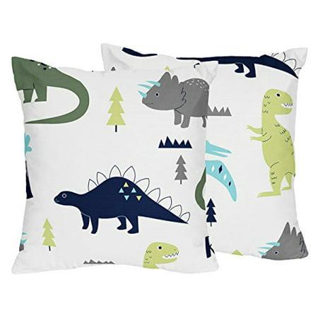 Sweet Jojo Designs 2-Piece Blue and Green Modern Dinosaur Decorative Accent Throw Pillows - image 1 of 1
